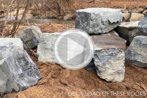 Erosion Control using Boulders, Big Rocks, Drainage Stone and River Stone