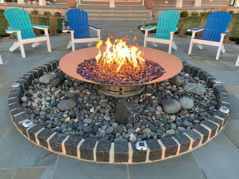 Custom Firepit Surrounded with Belgian Block