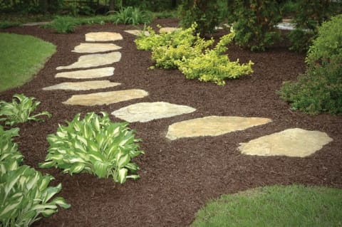 Mulched Gardens with Natural Stone Steppers