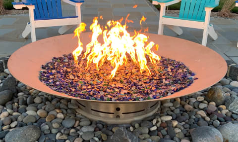Custom Fire Pit with blue recycled glass