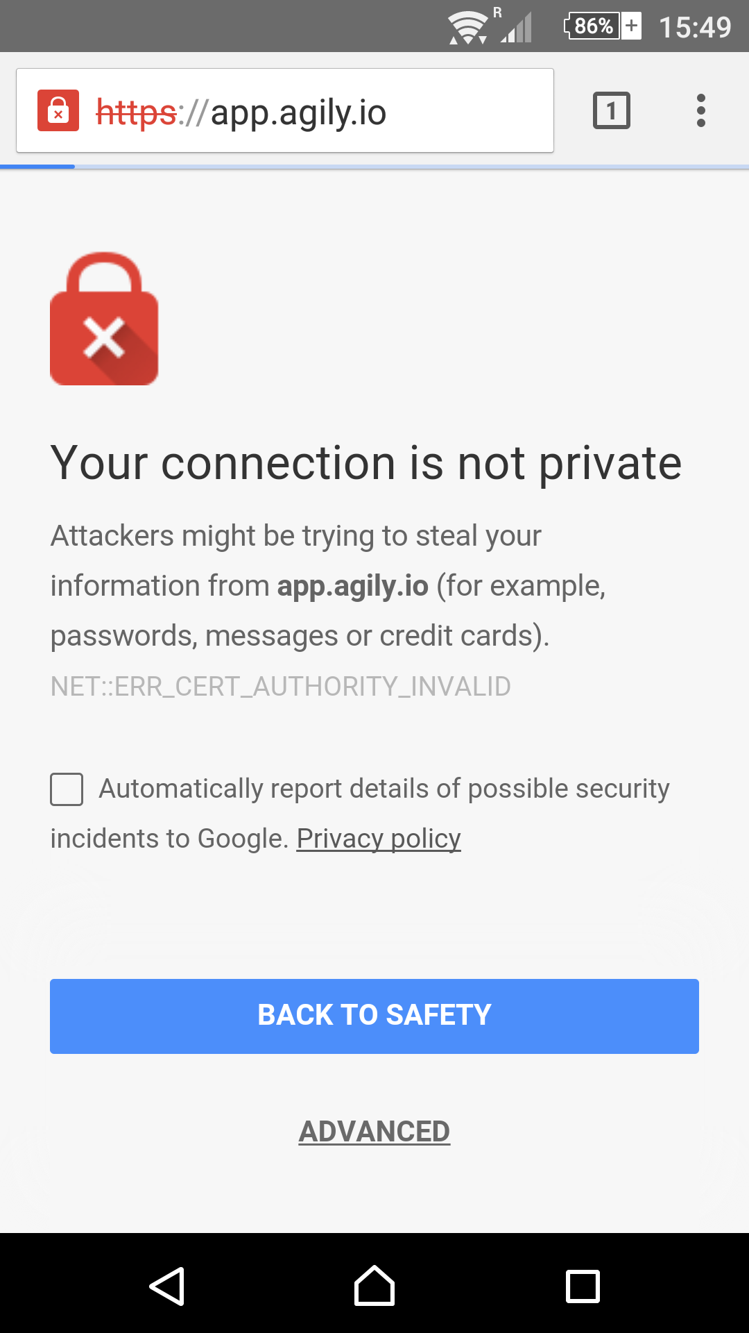 security message on Chrome browser for Android