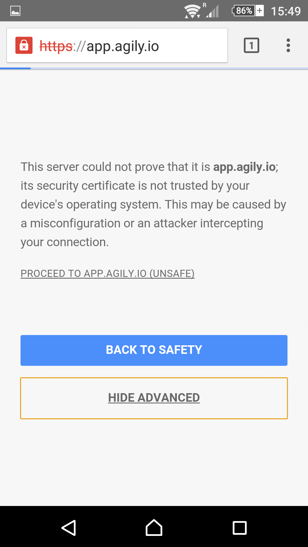 security screen on Chrome browser for Android