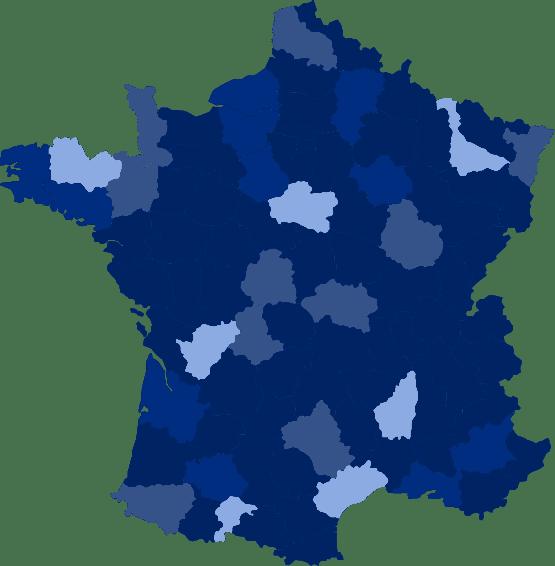 Carte de France indiquant les opportunités d'implantation