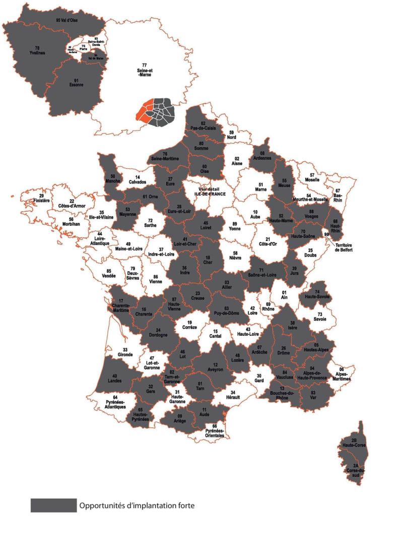 Carte des opportunités d'implantation par département