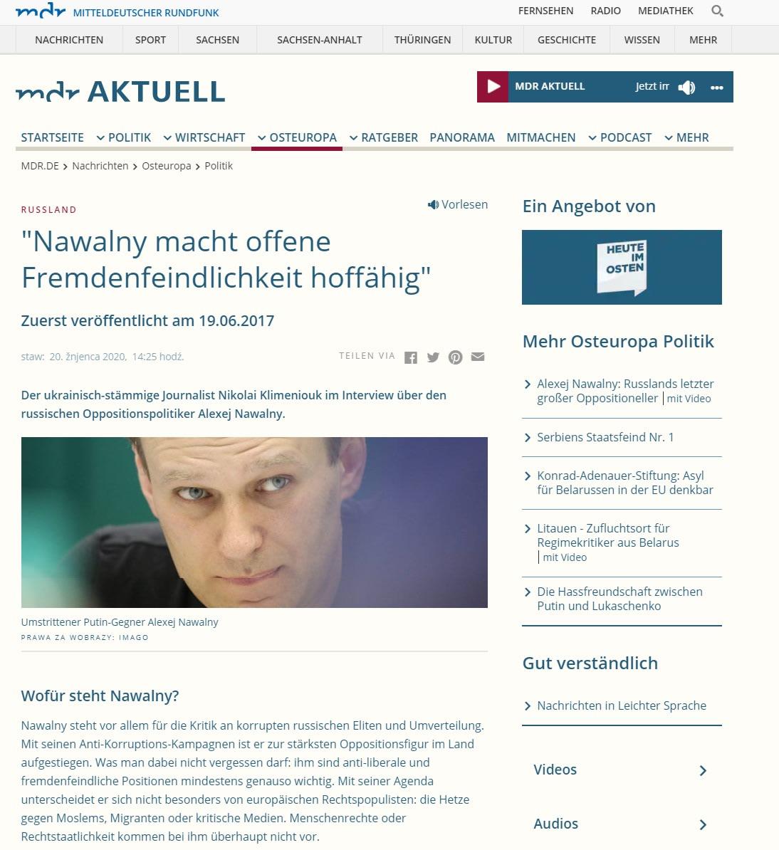 Mitteldeutscher Rundfunk: Nawalny macht offene Fremdenfeindlichkeit hoffähig