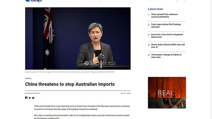 Китай угрожает Австралии из-за расследования по источнику COVID-2019