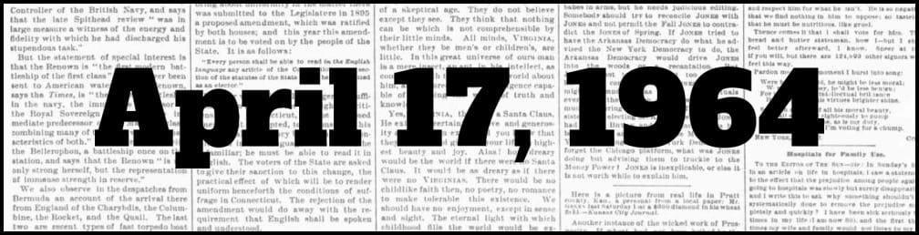 April 17, 1964 in New York history