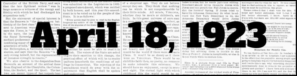 April 18, 1923 in New York history