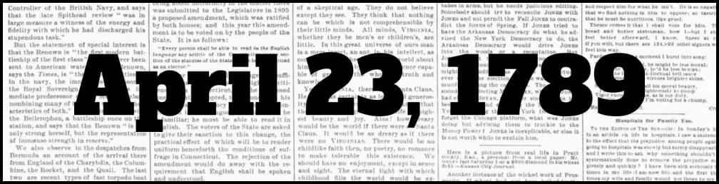 April 23, 1789 in New York history