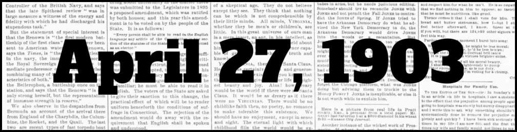 April 27, 1903 in New York history