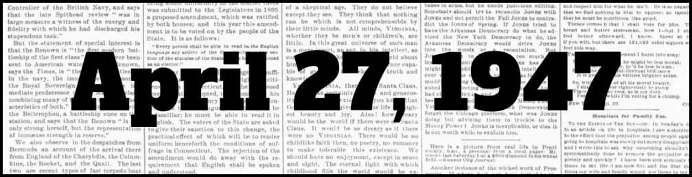 April 27, 1947 in New York history