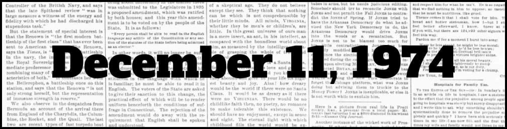 December 11, 1974 in New York history