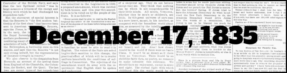 December 17, 1835 in New York history