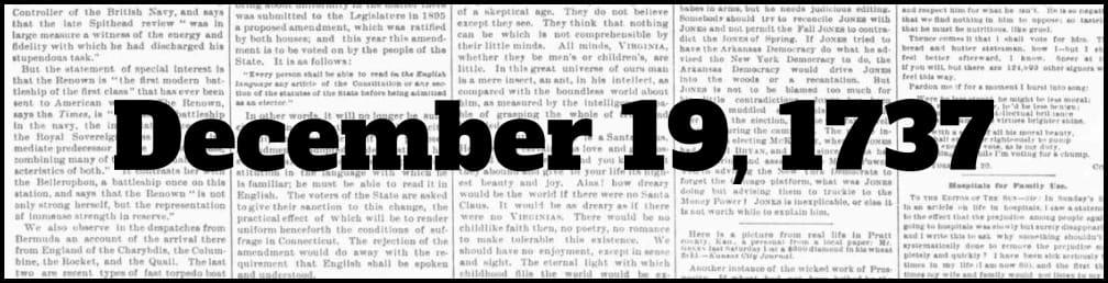 December 19, 1737 in New York history