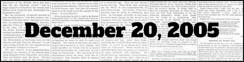 December 20, 2005 in New York history
