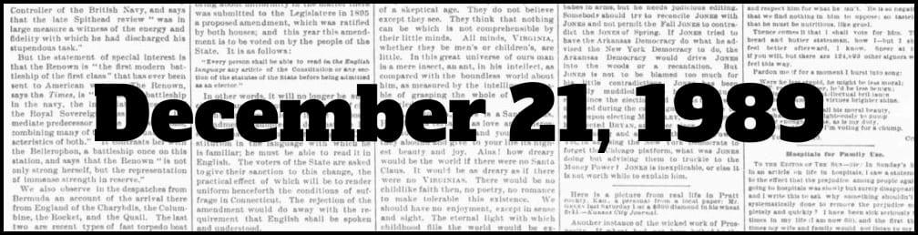 December 21, 1989 in New York history