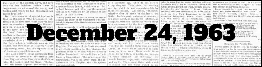 December 24, 1963 in New York history