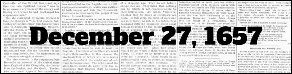 December 27, 1657 in New York history