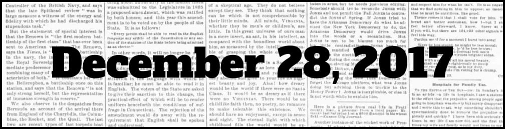 December 28, 2017 in New York history