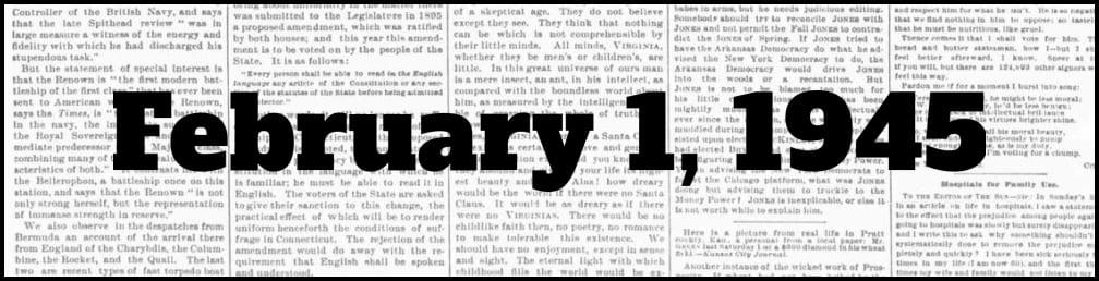 February 1, 1945 in New York history
