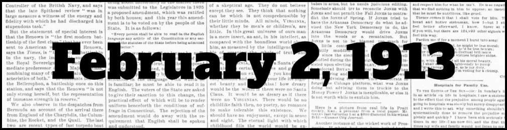 February 2, 1913 in New York history