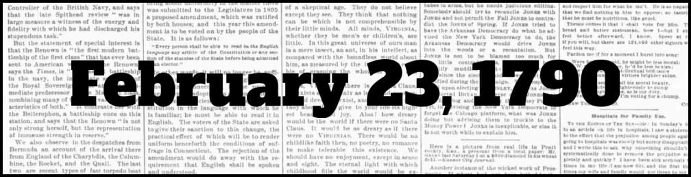 February 23, 1790 in New York history