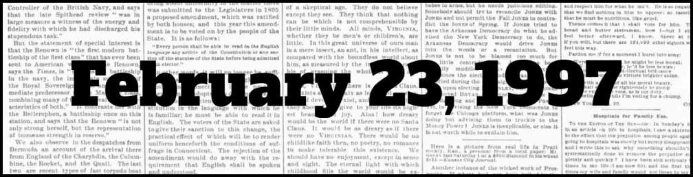 February 23, 1997 in New York history