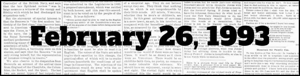 February 26, 1993 in New York history