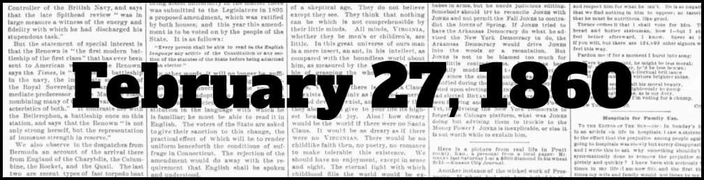 February 27, 1860 in New York history