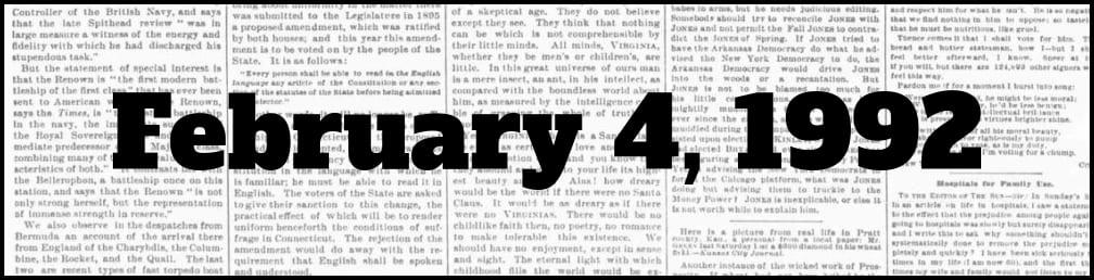 February 4, 1992 in New York history