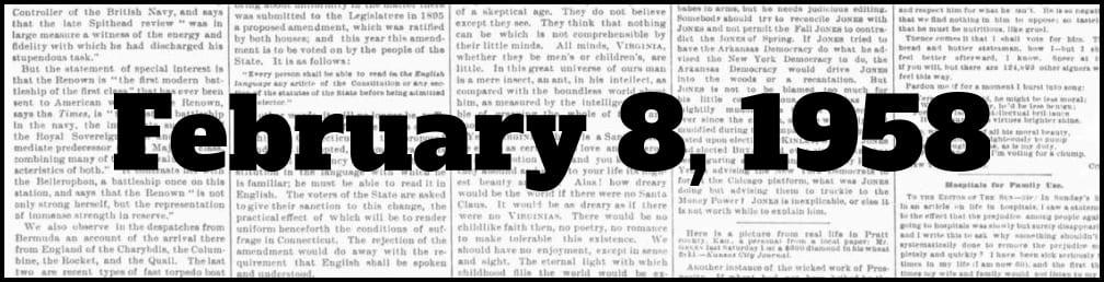 February 8, 1958 in New York history