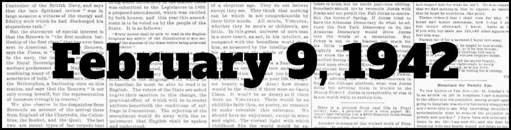 February 9, 1942 in New York history