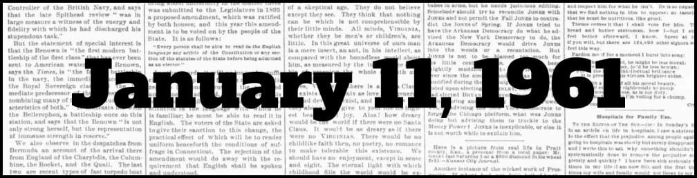 January 11, 1961 in New York history
