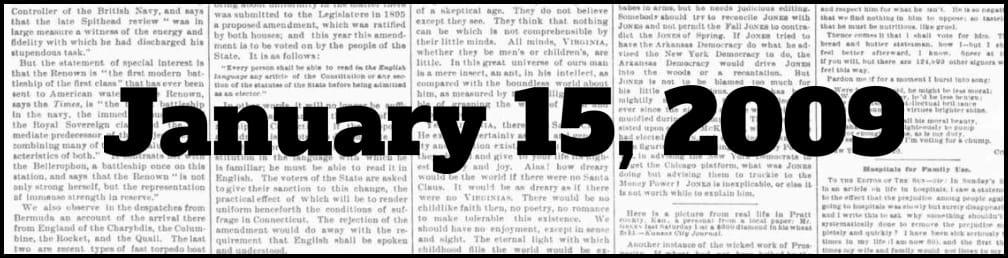 January 15, 2009 in New York history
