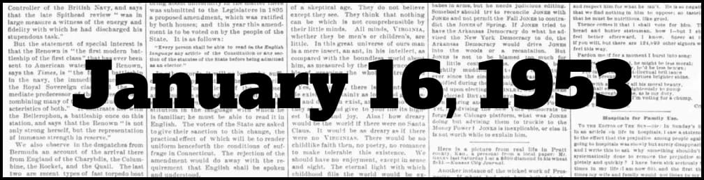 January 16, 1953 in New York history