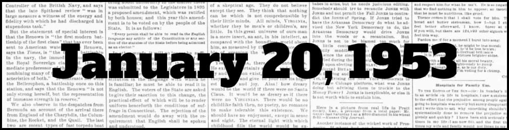 January 20, 1953 in New York history