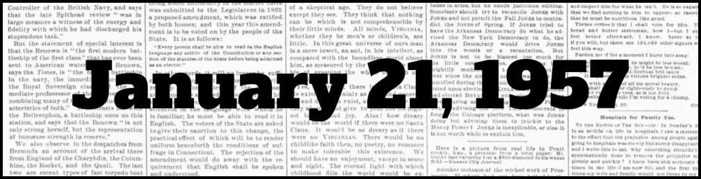 January 21, 1957 in New York history