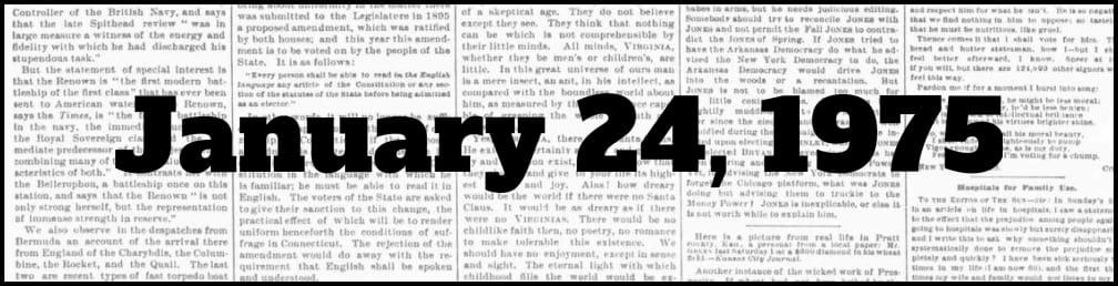 January 24, 1975 in New York history