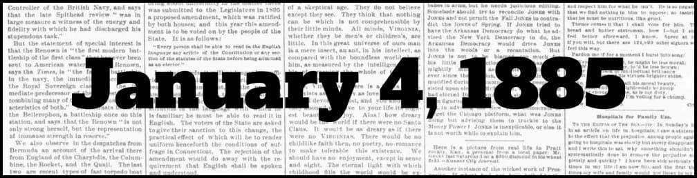 January 4, 1885 in New York history