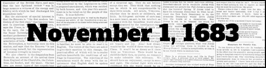 November 1, 1683 in New York history