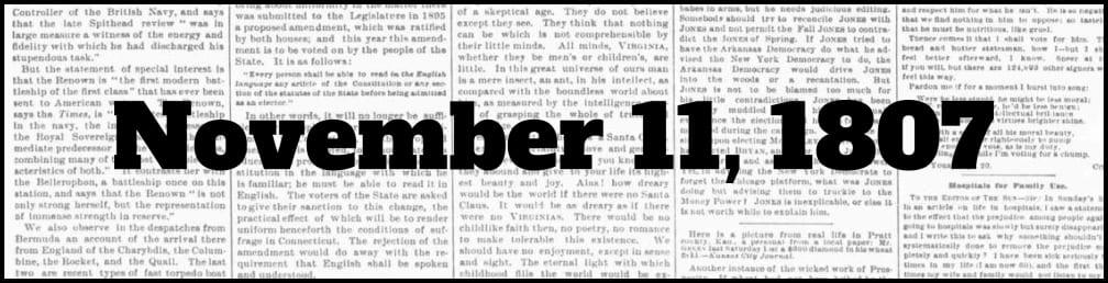 November 11, 1807 in New York history