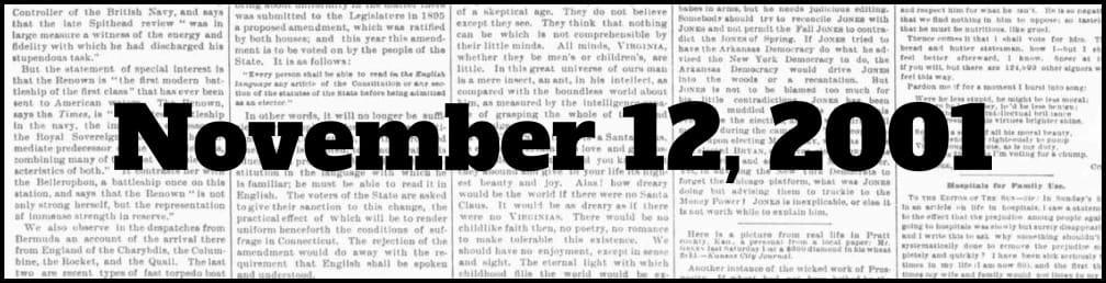 November 12, 2001 in New York history