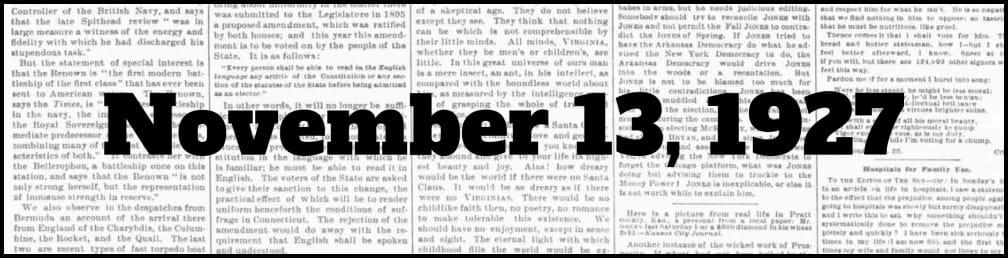 November 13, 1927 in New York history