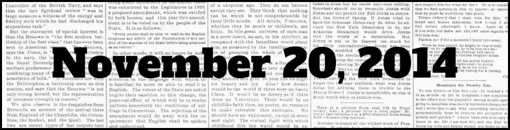 November 20, 2014 in New York history
