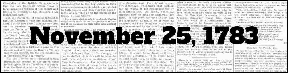 November 25, 1783 in New York history