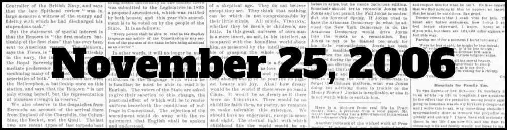 November 25, 2006 in New York history