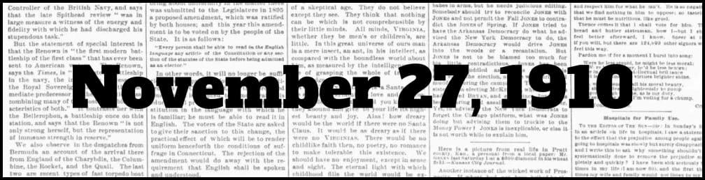 November 27, 1910 in New York history