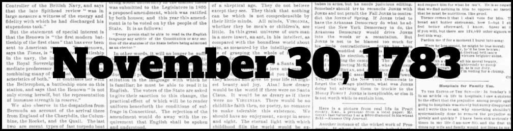 November 30, 1783 in New York history