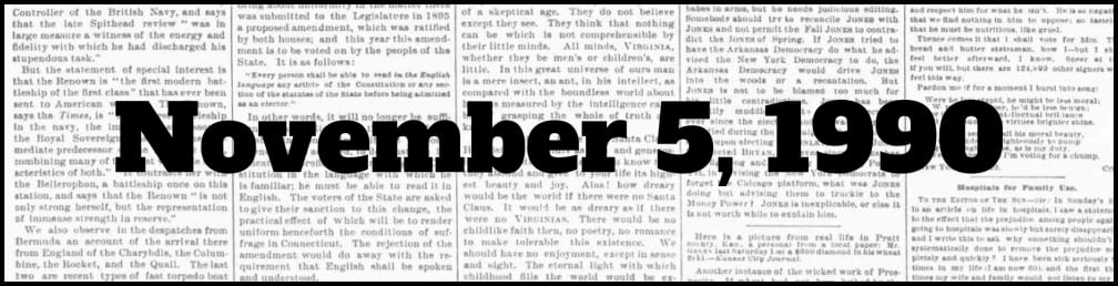 November 5, 1990 in New York history