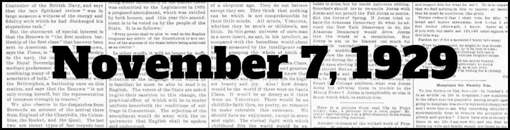 November 7, 1929 in New York history